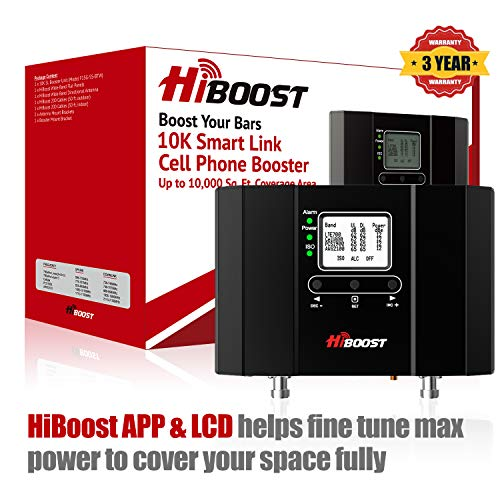 HiBoost 10K Smart Link - Cell Phone Signal Booster - Improves Reception on Phones, Tablets and Hotspots - Cell Booster to Support all Carrier - For Homes and Offices. Boost up to 4,000 - 10,000 Sq. Ft from HiBoost