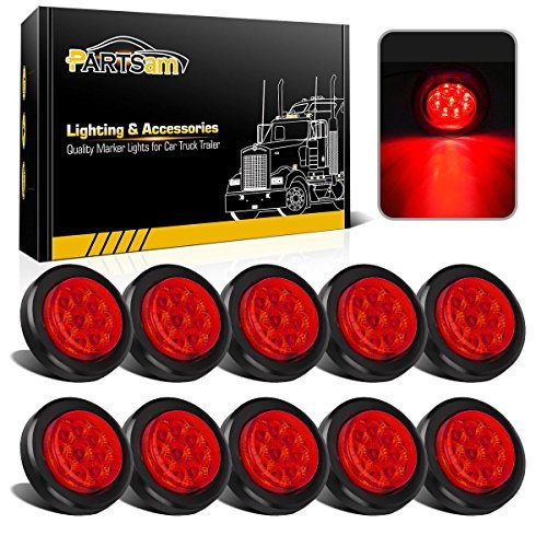 Partsam 10 Pcs LED 2'' Round Red Side Marker Light Kit with Reflectors Grommet and Wire Pigtail Truck Trailer Rv, 2 Inch Round Led Trailer Lights, 2 Inch Round Led Marker Lights Red by Partsam