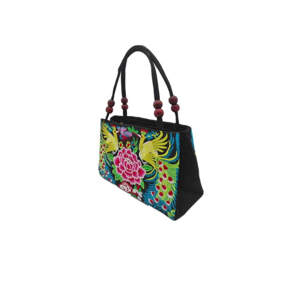 candygirlft Embroidered Peacock Handbags Chinese Embroidery Ethnic Flower Shoulder Bag with 2 Layers for Women Girl (2 Layer Desgin Peacock Handbag)