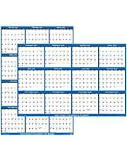 """24"""" x 36"""" SwiftGlimpse 2022 Wall Calendar Erasable Large Wet & Dry Erase Laminated 12 Month Annual Yearly Wall Planner, Reversible, Horizontal/Vertical, Navy"""