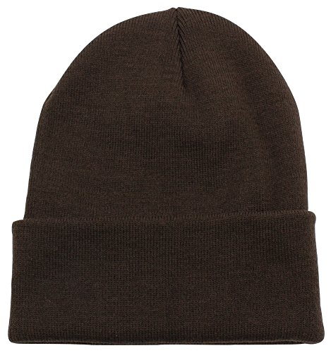 Brown Beanie Fleece - Top Level Unisex Cuffed Plain Skull Beanie Toboggan Knit Hat/Cap, Dark Brown