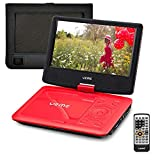 9inch tv headrest for cars - UEME Portable DVD CD Player with 9 Inches Screen, Car Headrest Mount Holder, Remote Control, Built in Rechargeable Battery, Wall Charger, Car Charger, Personal DVD Players (Red)