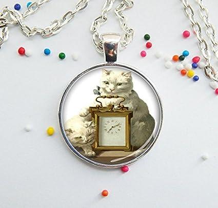 Collar con colgante de gato y reloj de color blanco, pintura vintage para gatos,