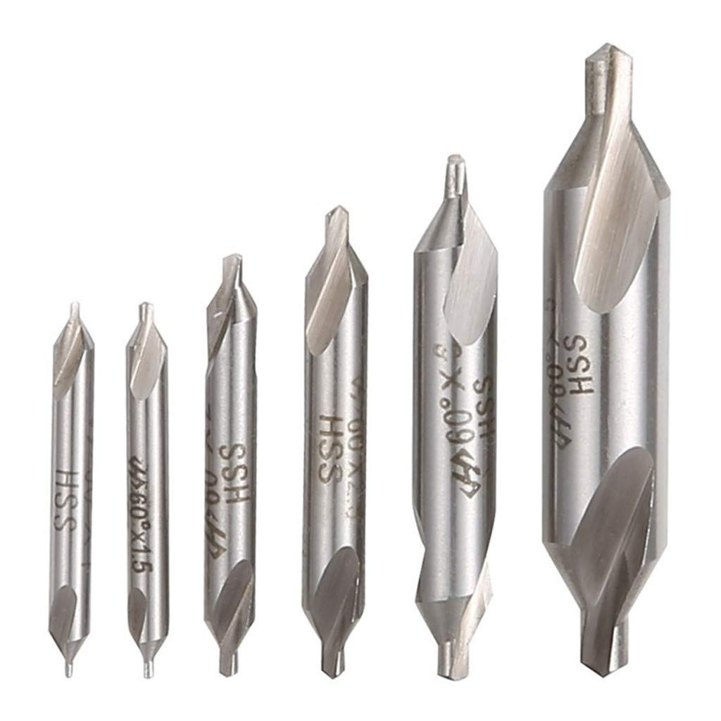 Onefa HSS Center Dril, 6pc Combined Center Drill Countersink Bit Lathe Mill Tackle Tool Set Kit