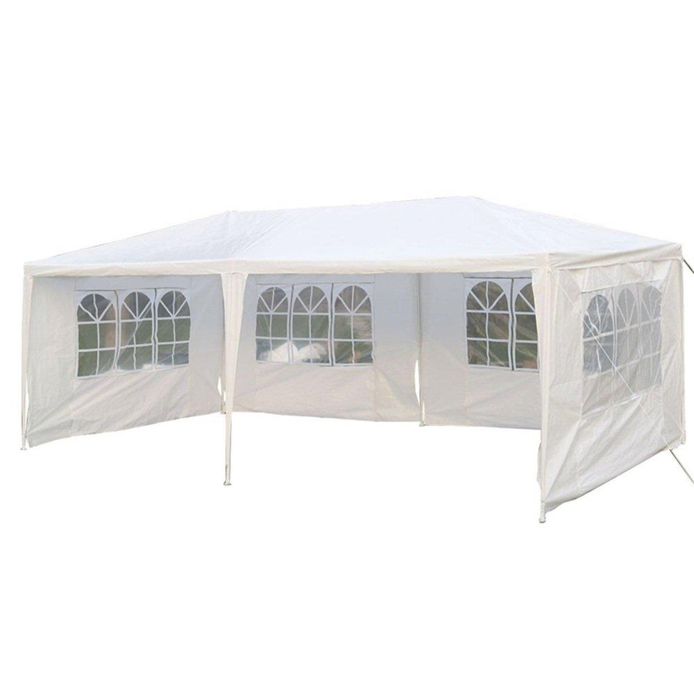 MCTECH 3 x 6 m bianco tenda esterno Tenda da giardino Padiglione Tenda birra Tenda gazebo con4 pareti laterali, 4 finestre