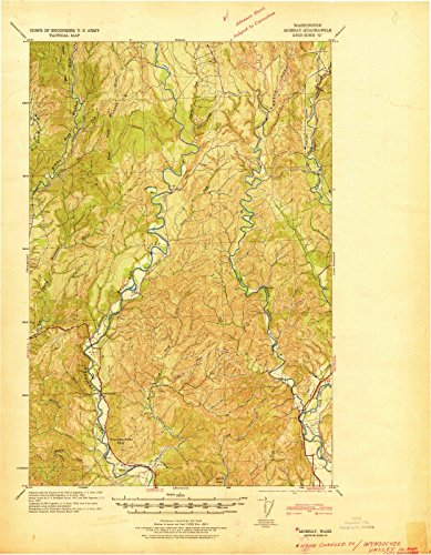 Washington Maps - 1941 Mobray, WA USGS Historical Topographic Map - Cartography Wall Art - 44in x ()