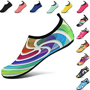 VIFUUR Men Women Water Shoes Barefoot Skin Shoes Run Dive Surf Swim Beach Yoga Whirlpool Colorful 38/39