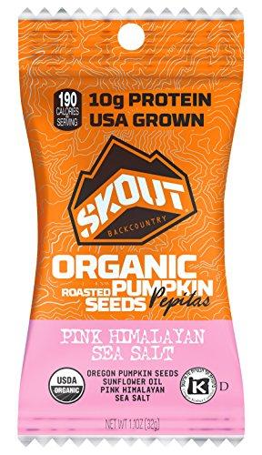 SKOUT Organic Roasted Pumpkin Seeds - Pink Himalayan Sea Salt - Pepitas With No Shell - Vegan Low Carb Snacks - Paleo & Keto Foods - Gluten Free - Non-GMO - Kosher - Grown in USA - 1.1 oz (10 Count)