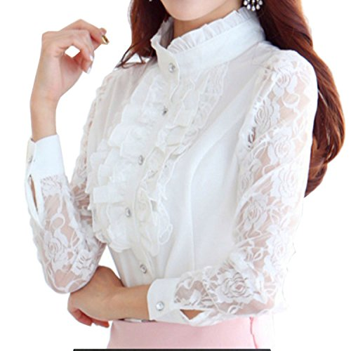Women's Lace Long Sleeve Blouses Ruffle Front Stand Collar Tops Office Style (US 8_XL, Lace White) Work Dress Everyday Outfit Fluted Sleeve Occasions Prom Regular Sheath Silhouette Single Young Puff ()
