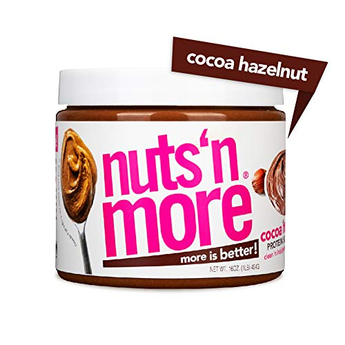 Nuts N More Cocoa Hazelnut Butter Spread, All Natural High Protein Nut Butter Healthy Snack, Omega 3s, Antioxidants, Low Carb, Low Sugar, Gluten-Free, Non-GMO, no preservatives,16 oz Jar