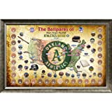 Steiner Sports MLB Oakland Athletics Major League Baseball Parks Map 20x32 Framed Collage with Game Used Dirt From 30 Parks