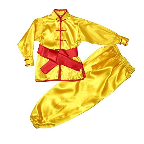 ZooBoo Kids' & Adult Chinese Traditional Wushu Costume Martial Arts Uniforms (Yellow, Height 120cm)