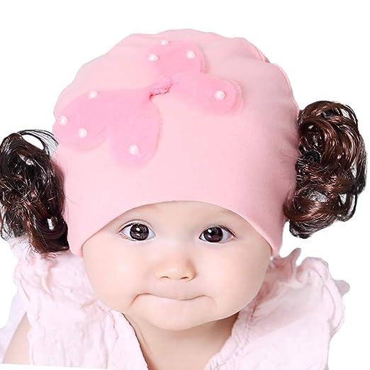 8f2b2d7e64b YI HENG MEI Infant Baby Girls Winter Warm Cute Wig Bow Knit Cap Beanie Photography  Prop