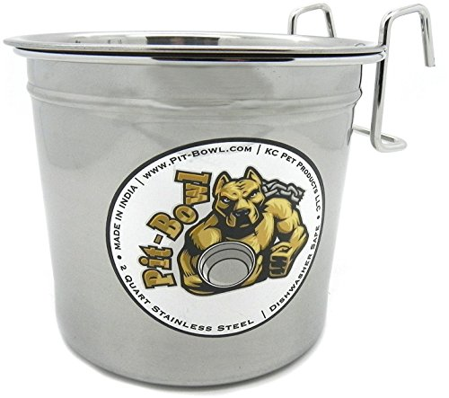 Pit-Bowl Stainless Steel Hook-on, Dog Crate Water Bowl (2 to 2.25qt) CR82 (Carrier Cage Crock)