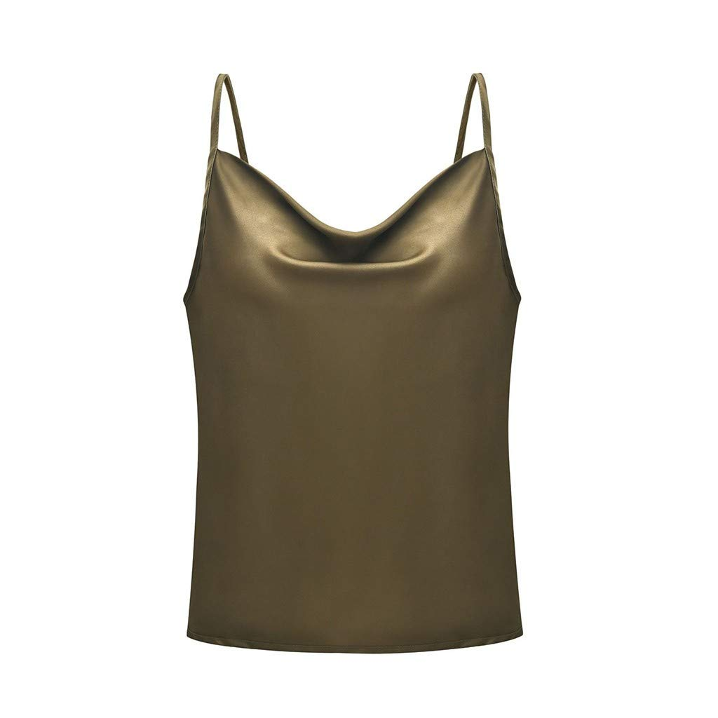 NUWFOR Sexy Womens Fashion Solid Color Adjustable Casual Basic Strappy Solid Tank Tops(Army Green,S US Bust:34.5'')