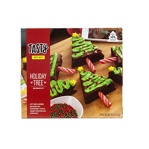 Tasty Holiday Tree Brownie Kit | Includes 3 Peppermint Sticks, Brownie Mix, Green Frosting Mix & Sprinkles! (Mix Icing Chocolate)