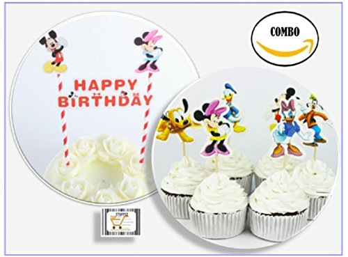 New COMBO Packaging Mickey, Minnie 24 Cupcake Muffin Toppers + 1 Cake Topper Banner Kit for Kids Birthday, soccer game,get together winner Birthday Party Serve 24