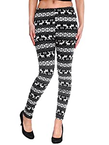 Simplicity Women's Nordic Snowflake Reindeer Knitted Fleece Lined Leggings from Simplicity