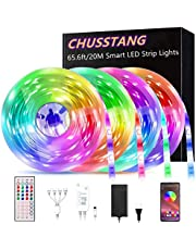 LED Light Strip 20M, CHUSSTANG Led Strip Smart Color Changing Rope Lights 65.6ft/20M SMD 5050 RGB Light Strips with Bluetooth Controller Sync to Music Apply for TV, Bedroom, Party and Home Decoration