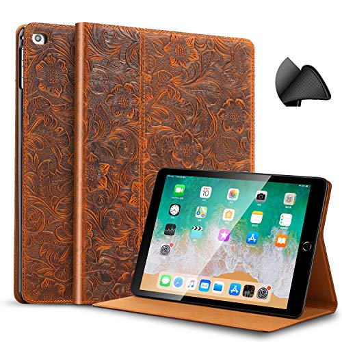 (Gexmil iPad 9.7 Inch 2018/2017 Case, applies Cowhide Folio Cover for iPad 6th Gen / 5th Gen Genuine Leather case,Also applies to iPad Air 2 / iPad Air,Pattern-Brown)