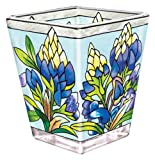 Amia Petite Votive, Hand-Painted Glass with Colorful Bluebonnet Design, 3 Inches Tall
