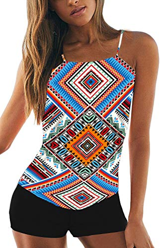 CIZITZZ Women's 2 Piece Swimsuits High Neck Halter Printed Tankini Sets Tummy Control Bathing Suit,AfricanP,S
