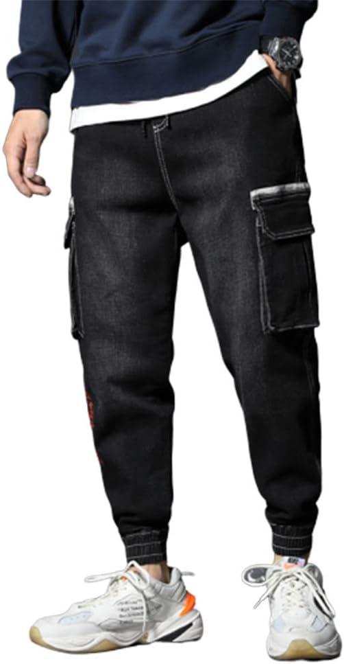 ファッションラージサイズのメンズジーンズルーズ大きなポケットオーバーオール刺繍ジーンズ弾性のヒップホップジョガージーンズスウェットパンツ,a,L