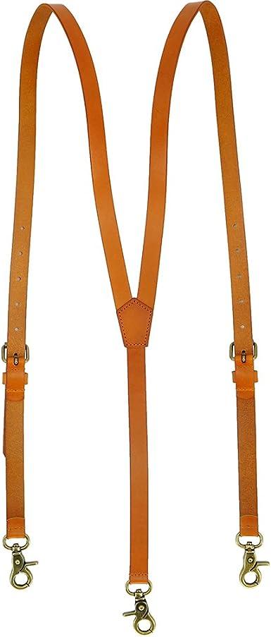 Lawevan Tirantes Hombre Estilo Steampunk - Cuero Genuino de Color Amarillo Marrón Brillante - 3 Ganchos de Presión - Ideal para Vestir Casual, Elegante y Formal: Amazon.es: Ropa y accesorios