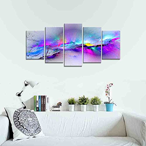 Wieco Art – Changing Colors Giclee Canvas Prints 5 panels Modern Artwork Landscape Pictures to Photo Printed on Abstract Canvas Wall Art for Home Decorations and Wall Decor 5pcs/set P5RAB023