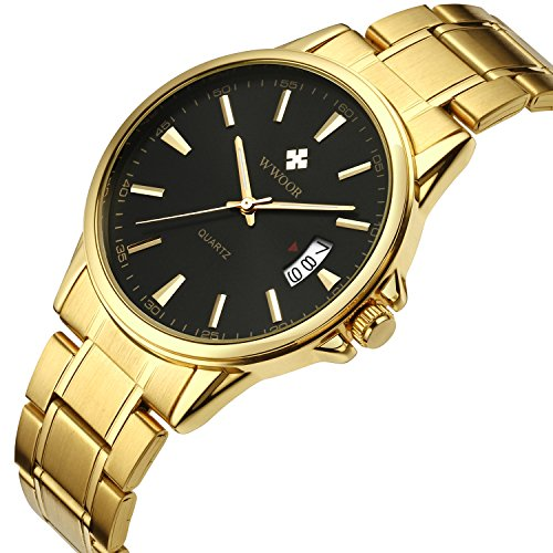 Luxury Men's Gold Toned Analog Quartz Watches Waterproof Stainless Steel Classic Design Black Dial Calendar Wrist Watch