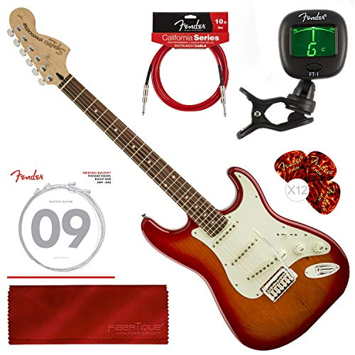Fender Squier Standard Stratocaster Guitar, Cherry Sunburst with Tuner, Strings, Picks and Bundle
