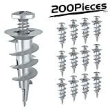 LuckIn Premium Quality Zinc Self-Drilling Drywall Anchors with Screws Kit, 100 Pack (100 Pieces Self-Drilling Drywall Anchors + 100 Pieces Screws)