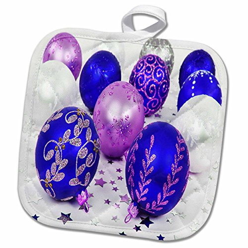 3dRose Yves Creations Christmas Decorations - Blue and Purple Christmas Baubles - 8x8 Potholder (phl_36870_1)