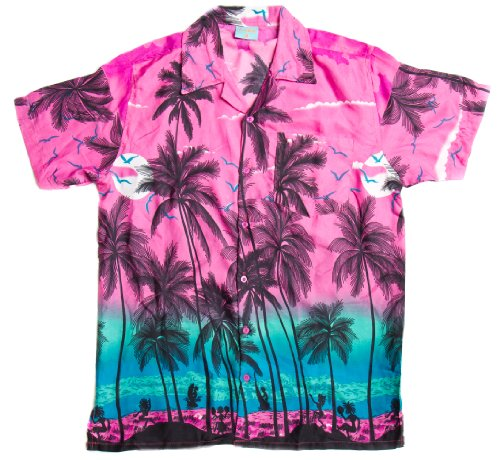 ragstock-mens-hawaiian-palm-tree-print-aloha-shirt-pink-medium
