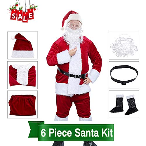 Men Santa Claus Costume Adult Christmas Outfit Father Christmas Suit Xmas Costume Set (Wine Red)
