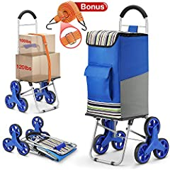 winkeep folding shopping cart upgraded extra large wheels & platform with cushion handles to improve loading capacity and save pull effort, more pockets for large storage. It is suitable for easy stair climbing when transport groceries, l...
