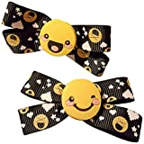 Hair Bows for Toddlers by Happy Head 6 Pair Cute Emoji Faces Baby Snap Clips Ribbons