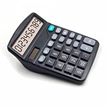 OFFIDIX Office Desktop Calculator, Solar and Battery Dual Power Electronic Calculator Portable 12 Digit Large LCD Display Calculator (Black)