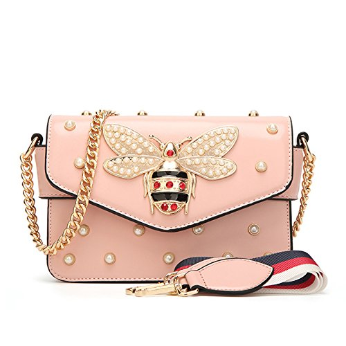 Messenger Leather Baby Mama SHRJJ Bag Bag Handbags Bees Chain Mini Shoulder Pearls Diaper Summer Bag Pink Quilted Fashion 2018 And Buckle Bag 4aSwqXa6f