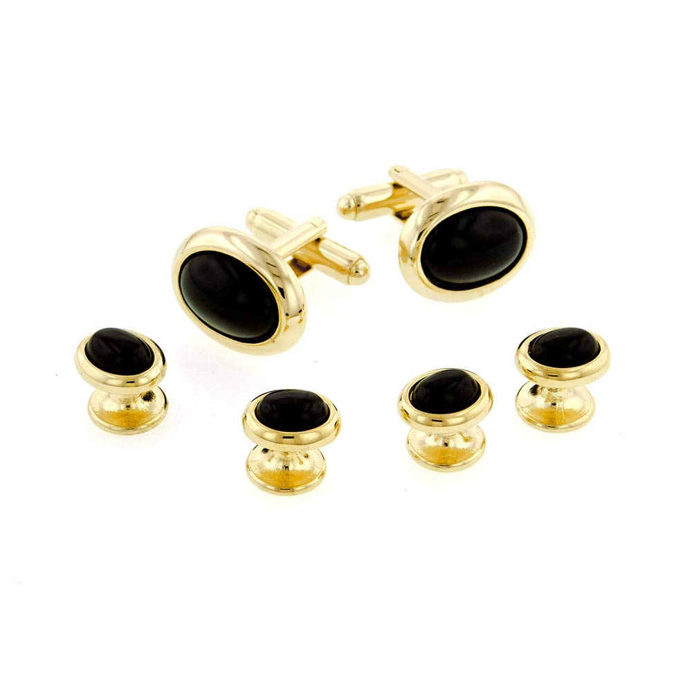 JJ Weston Low Dome Onyx Tuxedo Cufflinks and Shirt Studs. Made in The USA