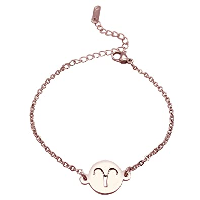 JJTZX Zodiac Signs Rose Gold Bracelet Stainless Steel Cut Out Charm  Bracelet Simple Birthday Gift