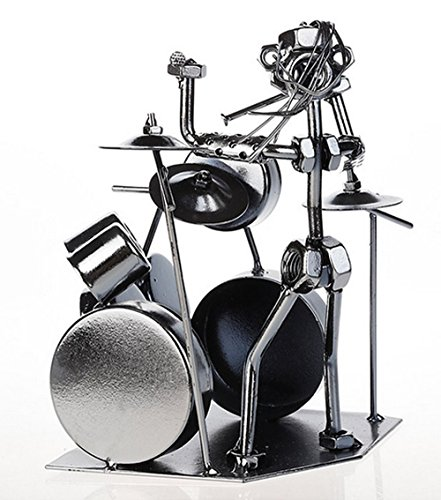 Gift for Drummer - Metal Rock Drummer Recycled Collectible Metal Art Sculpture - Drum Set Musician - Unique Gift for Drum Player