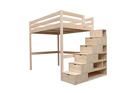 new release new style great deals 2017 ABC MEUBLES - Lit Mezzanine Sylvia avec escalier cube bois - CUBE - Brut,  160x200