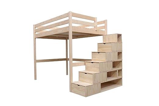Etagenbett Lukas Weiß : Abc meubles hochbett sylvia mit treppenregal holz cube brutto