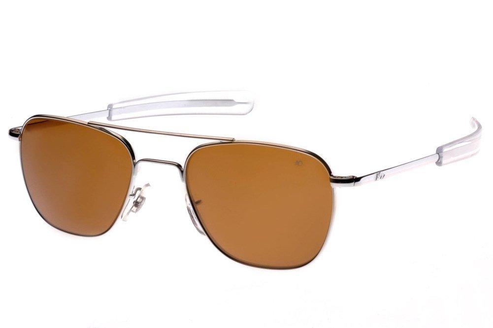 AO Eyewear Original Pilot 55mm Silver Frame Bayonet Temple Cosmetan Brown Glass Lens Sunglasses USMC USAF USN