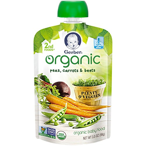 Gerber Organic 2nd Foods Baby Food Peas, Carrots and Beets, 3.5 Ounce Pouch (Pack of (Peas & Carrots)