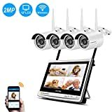 """Jennov Wireless Home Surveillance Camera System Outdoor Indoor 4 CH 1080P WiFi IP CCTV Security Cameras Kit with 12"""" Monitor Night Vision Easy Remote View Waterproof Motion Detection"""