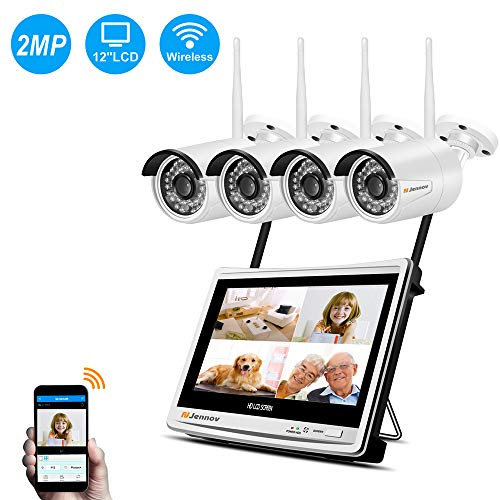Jennov Wireless Home Surveillance Camera System Outdoor Indoor 4 CH 1080P WiFi IP CCTV Security Cameras Kit with 12″ Monitor Night Vision Easy Remote View Waterproof Motion Detection
