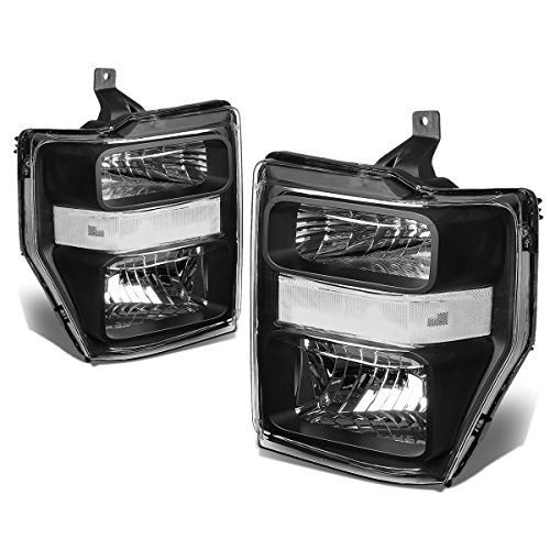 (For Ford Super Duty 2nd Gen F250-550 Pair OE Style Black Housing Clear Corner Headlight Lamp)