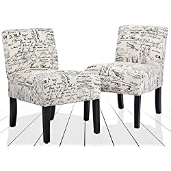 BestMassage Set of 2 Elegant Design Modern Fabric Accent Dining Chairs